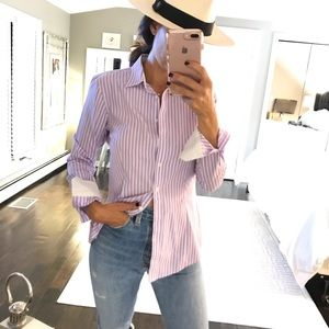 Brooks Brothers Lavender stripe fitted dress shirt